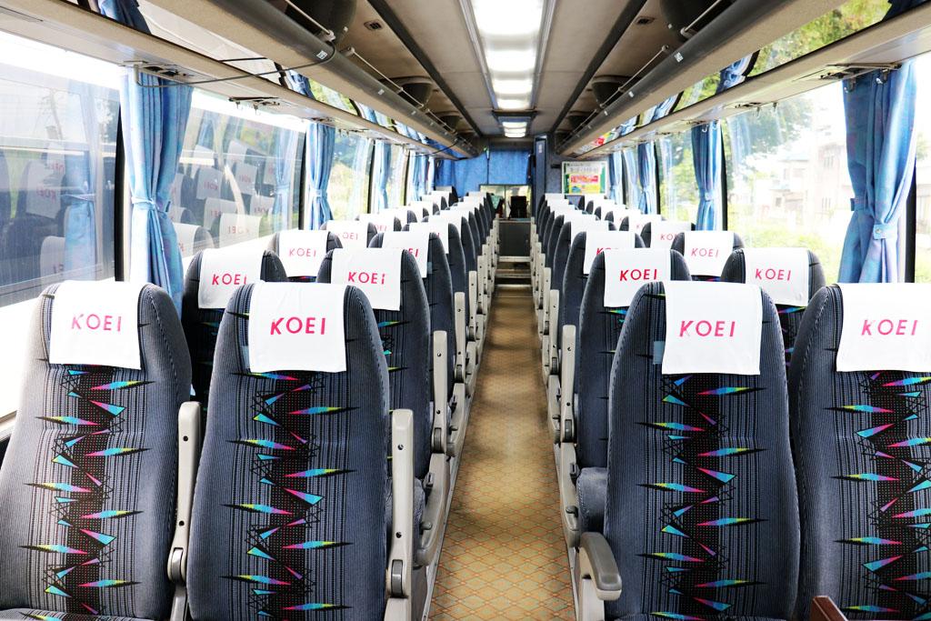 トイレ付き大型バスの座席配置